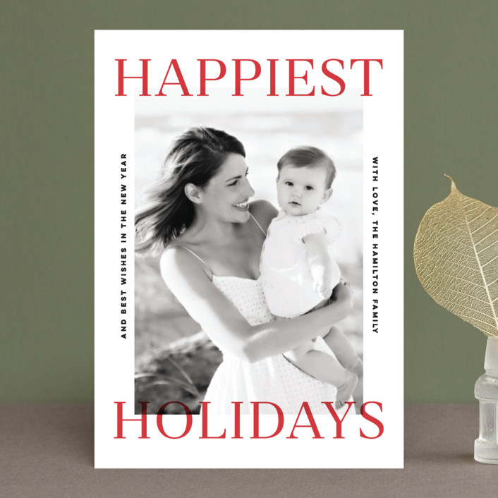 """""""Happiest Holidays"""" - Holiday Postcards in Berry by Pink House Press."""