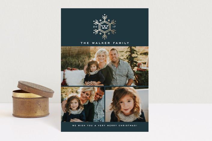 """""""Seasonal Monogram"""" - Holiday Postcards in Midnight by Oscar & Emma."""