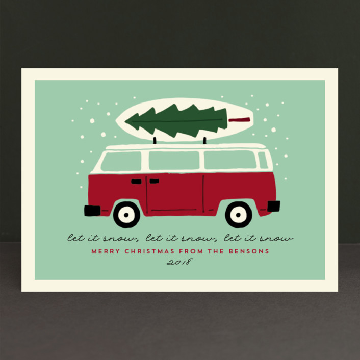 """surfboard winter"" - Vintage Holiday Postcards in Seafoam by JeAnna Casper."