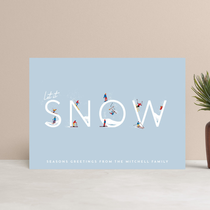 """""""Let it Snow Ski Hill"""" - Modern Holiday Postcards in Frost by Laura Mitchell."""