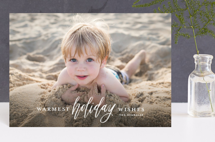 """Wish for Warm Holidays"" - Holiday Postcards in Snow by Cheer Up Press."