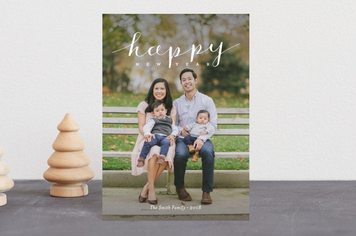 """""""Simply Happy Holidays"""" - Holiday Postcards in Snowflake by Frooted Design."""
