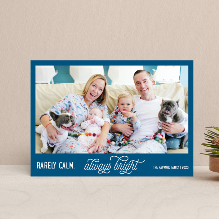 """Rarely Calm Always Bright"" - Funny Holiday Postcards in Cobalt by Jula Paper Co.."