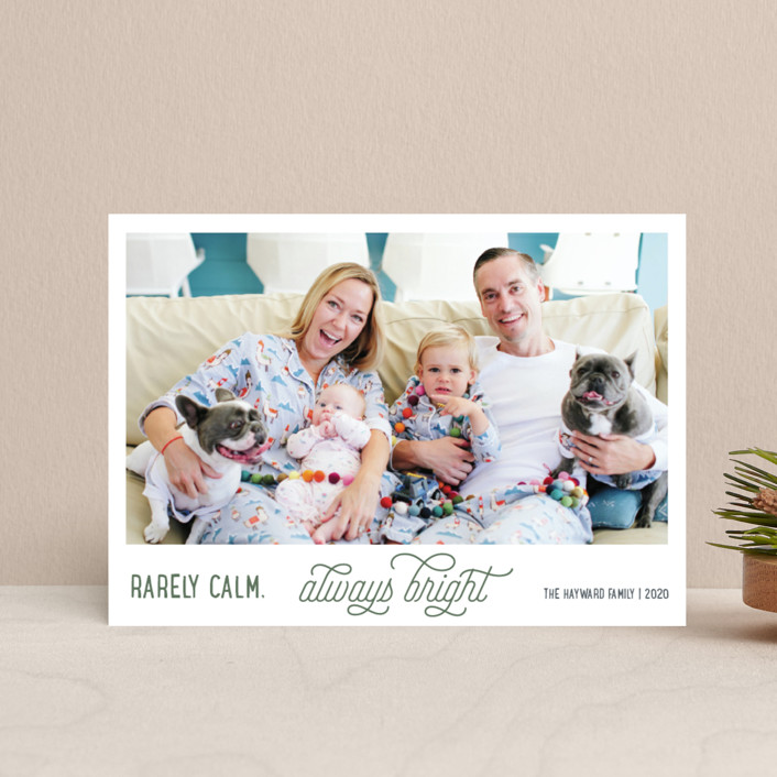 """""""Rarely Calm Always Bright"""" - Funny Holiday Postcards in Balsam Fir by Jula Paper Co.."""