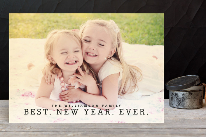 """""""Best Year Ever"""" - Holiday Postcards in Midnight by Melissa Kelman."""