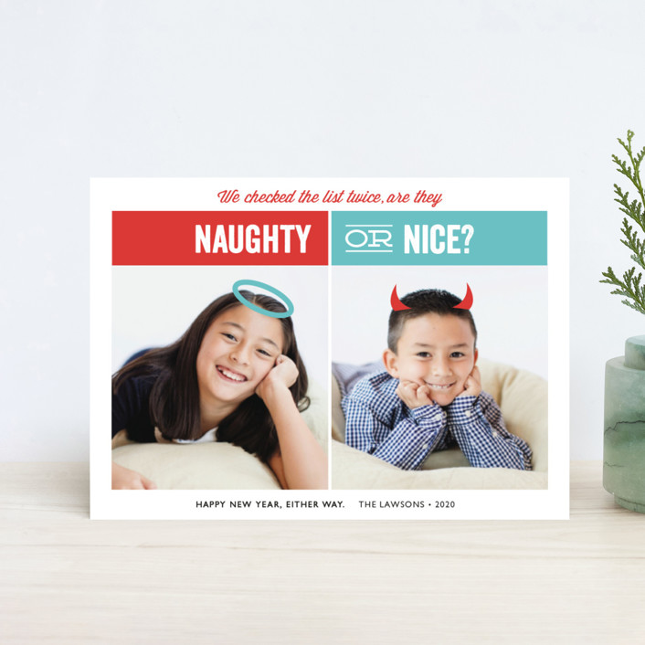 """Naughty or Nice"" - Funny Holiday Postcards in Berry by Holly Whitcomb."