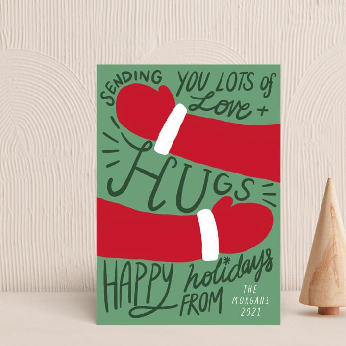 """Sending Hugs"" - Vintage Holiday Postcards in Pine Tree by Elly."