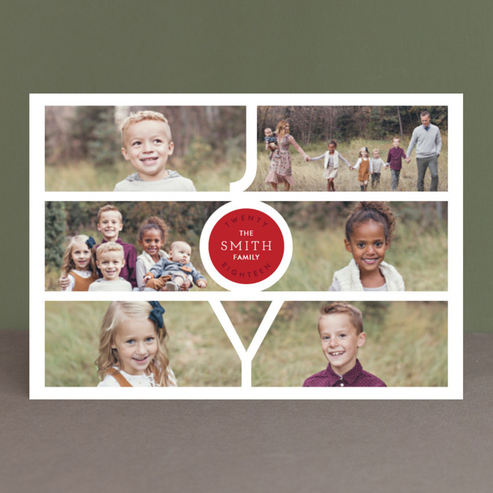 """""""Modern Family Joy"""" - Holiday Postcards in Ruby by Playground Prints."""