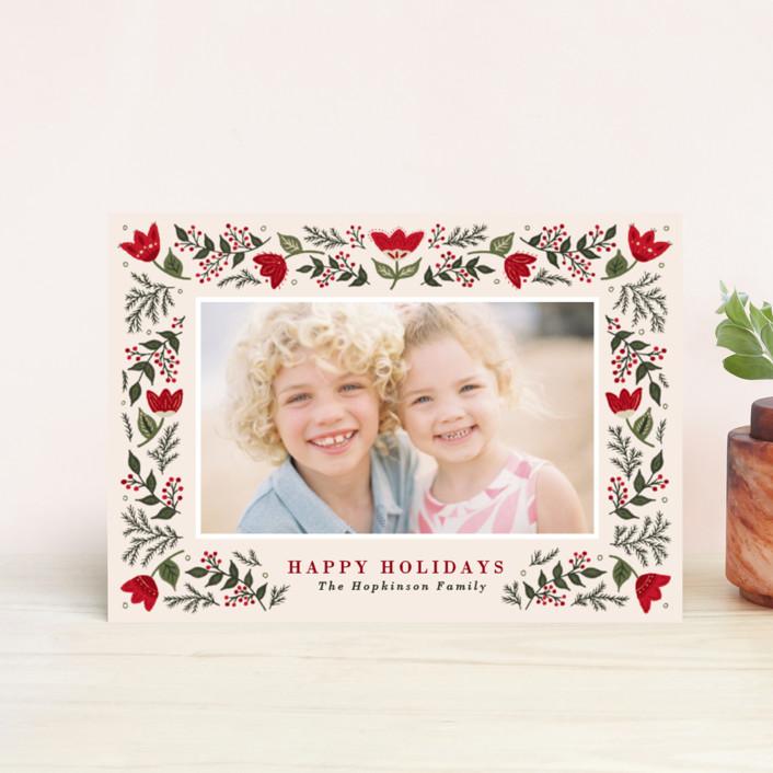 """Festive Folk"" - Holiday Postcards in Winterberry by Meagan Christensen."