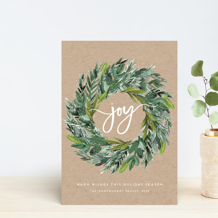 """Natural Pine Wreath"" - Holiday Postcards in Kraft by Petra Kern."