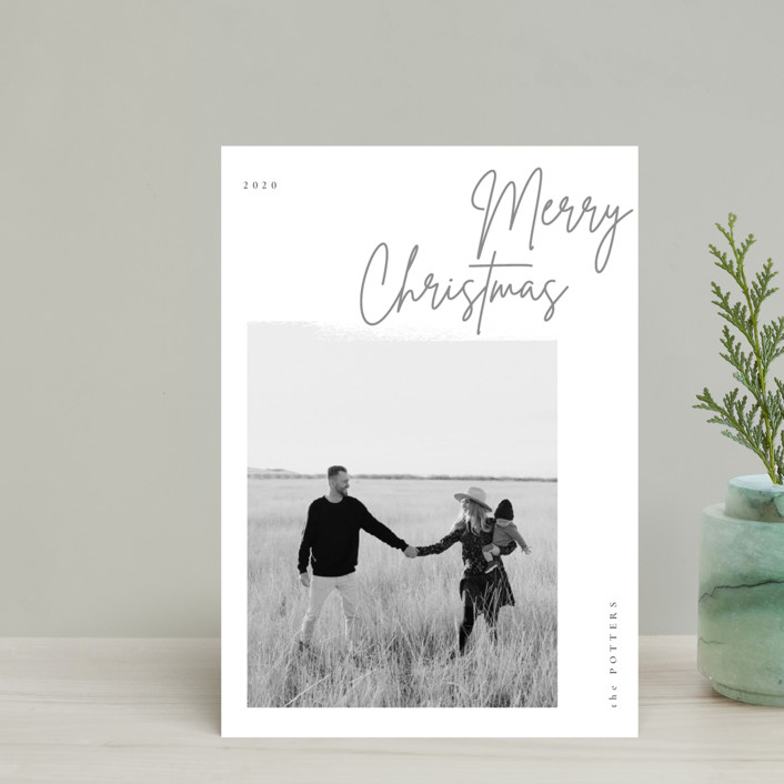 """minimal christmas script"" - Holiday Postcards in Stone by Sumak Studio."