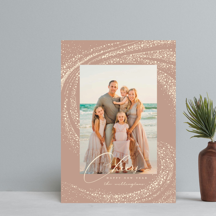 """Cheer Rays"" - Bohemian Holiday Postcards in Blush by Vivian Yiwing."