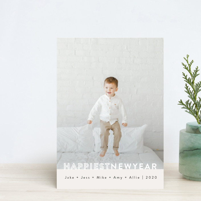 """""""The Happiest"""" - Holiday Postcards in Ivory by Kasia Labocki."""