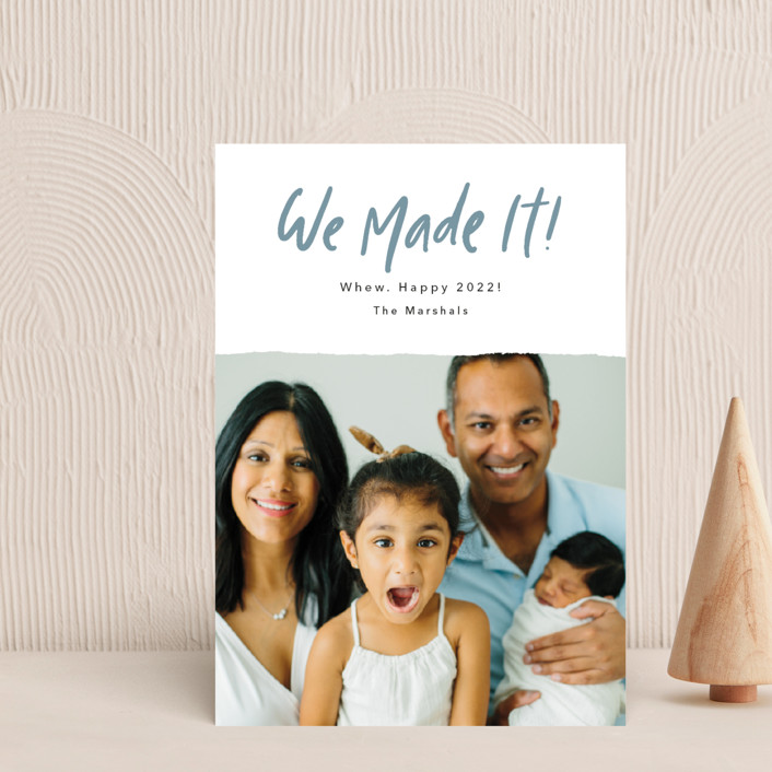 """""""We Made It!"""" - Funny Holiday Postcards in Moonstone by Kelsey Mucci."""