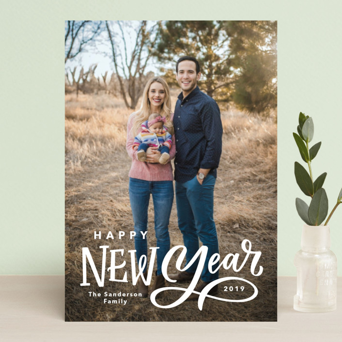 """Lettered New Year"" - Holiday Postcards in Milk by Kristen Smith."