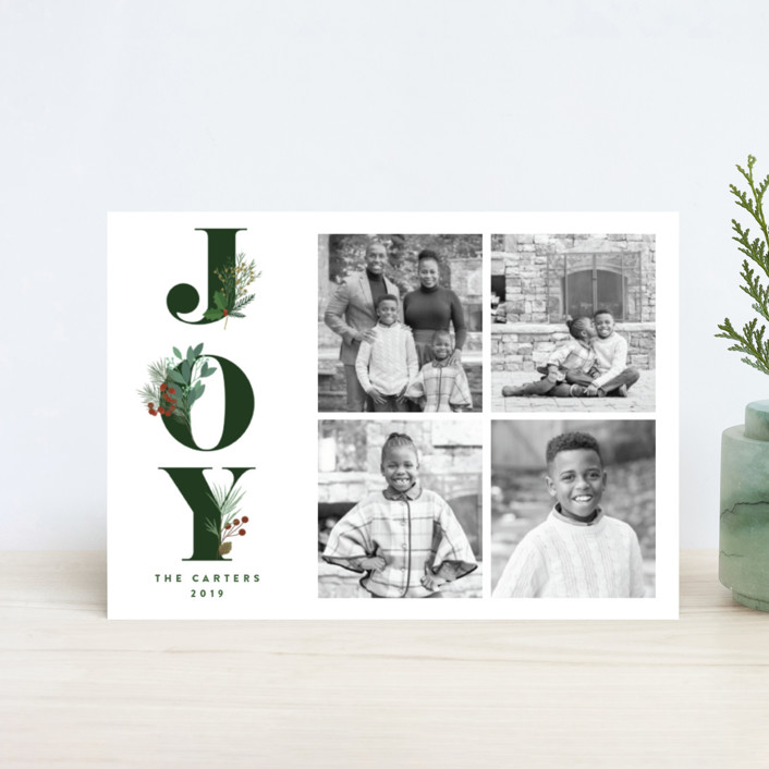 """""""Joy Greenery"""" - Holiday Postcards in Emerald by curiouszhi design."""