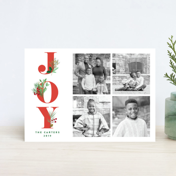 """""""Joy Greenery"""" - Holiday Postcards in Ruby by curiouszhi design."""