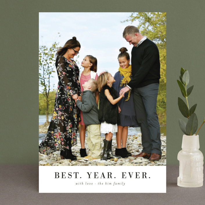 """best. year. ever. minimal"" - Holiday Postcards in Snow by Wildfield Paper Co.."