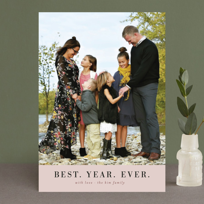 """""""best. year. ever. minimal"""" - Holiday Postcards in Rose by Wildfield Paper Co.."""