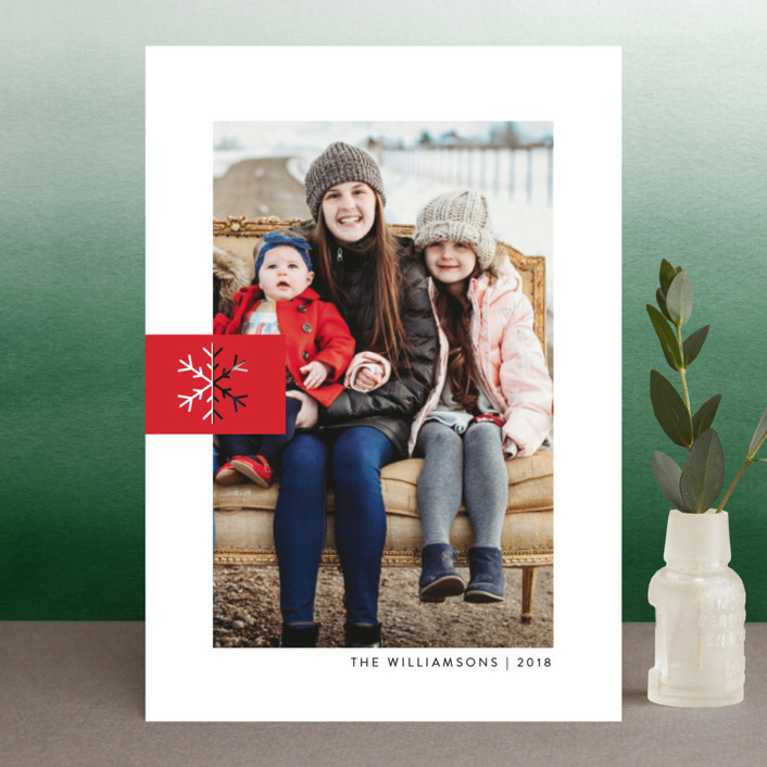 """Snowflake Tab"" - Holiday Postcards in Poinsettia by Ellis."