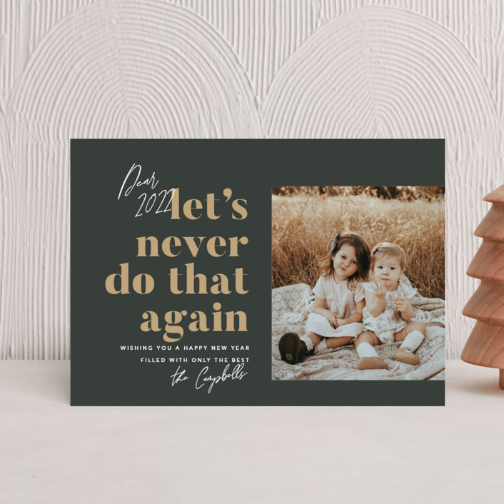 """""""Never Again"""" - Funny Holiday Postcards in Charcoal by Robert and Stella."""