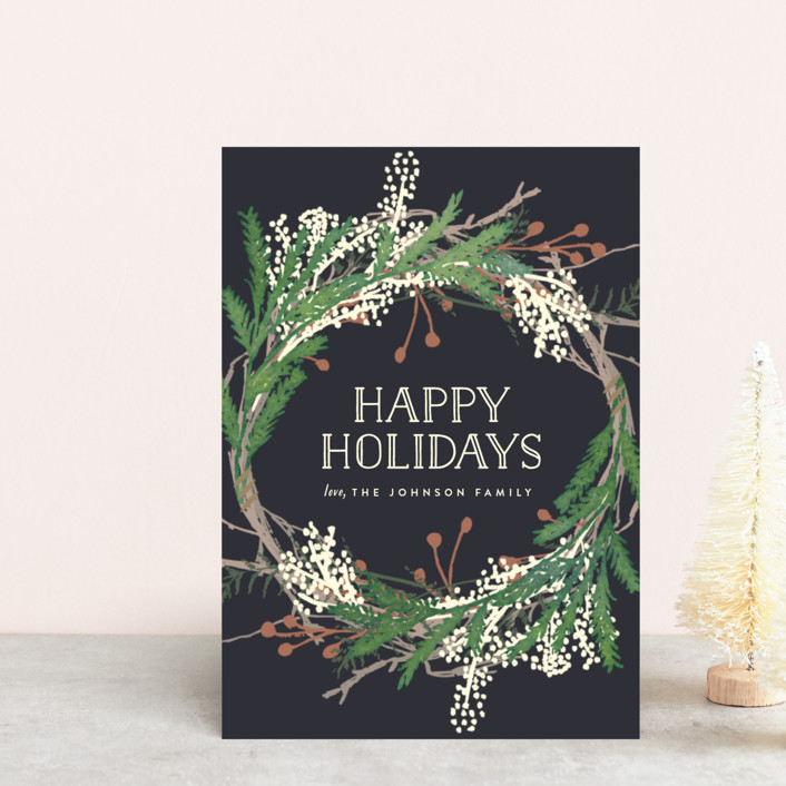 """""""Pine Circle"""" - Holiday Postcards in Moss by Leah Bisch."""