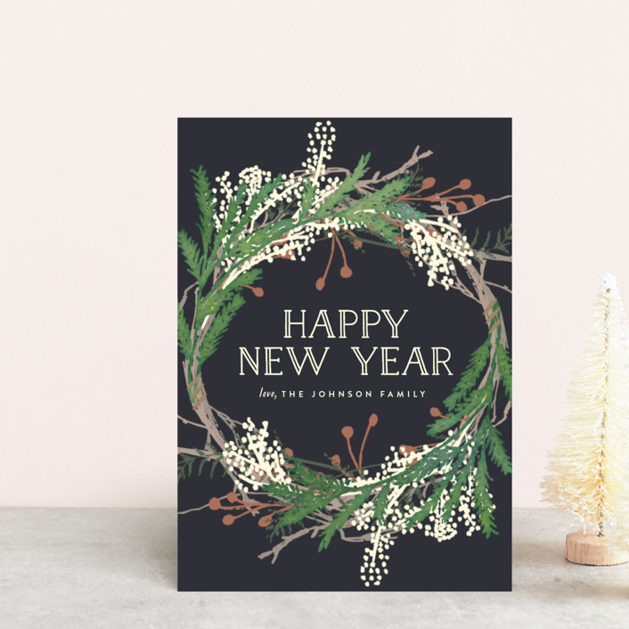 """Pine Circle"" - Holiday Postcards in Moss by Leah Bisch."