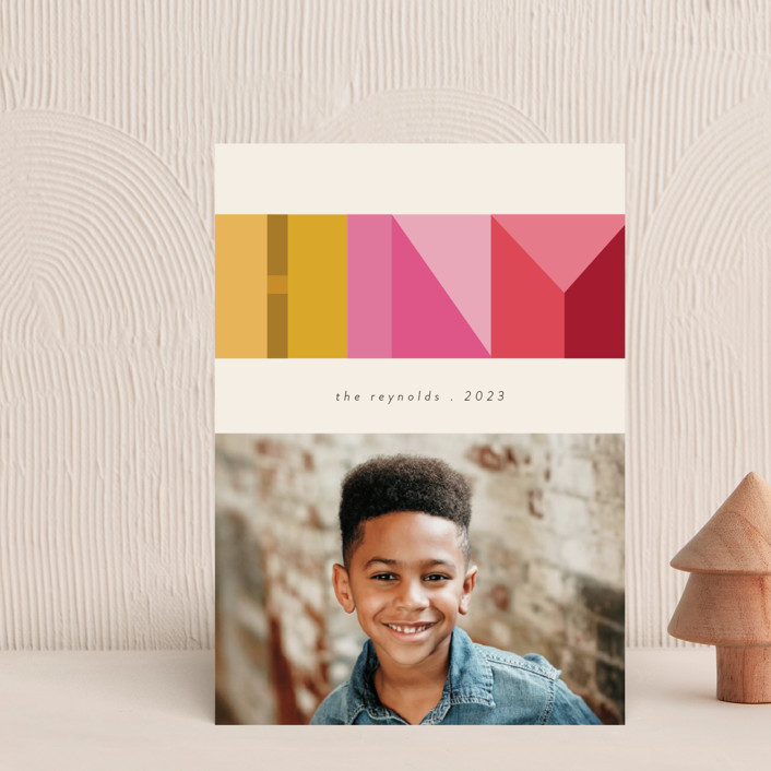 """""""Mod Letters"""" - Modern Holiday Postcards in Citrus by Morgan Kendall."""