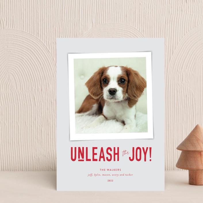 """Unleash the Joy"" - Funny Holiday Postcards in Cardinal by Robin Ott."