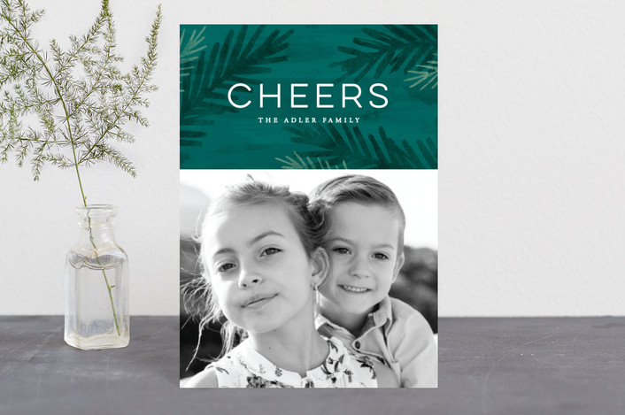 """""""Peace Of Pine"""" - Holiday Postcards in Evergreen by Hooray Creative."""
