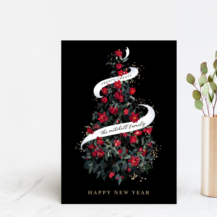 """""""Camellia Tree"""" - Holiday Postcards in Coal by Becky Nimoy."""