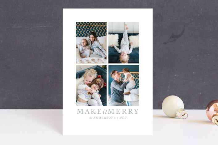 """make it merrier"" - Holiday Postcards in Frost by Jula Paper Co.."