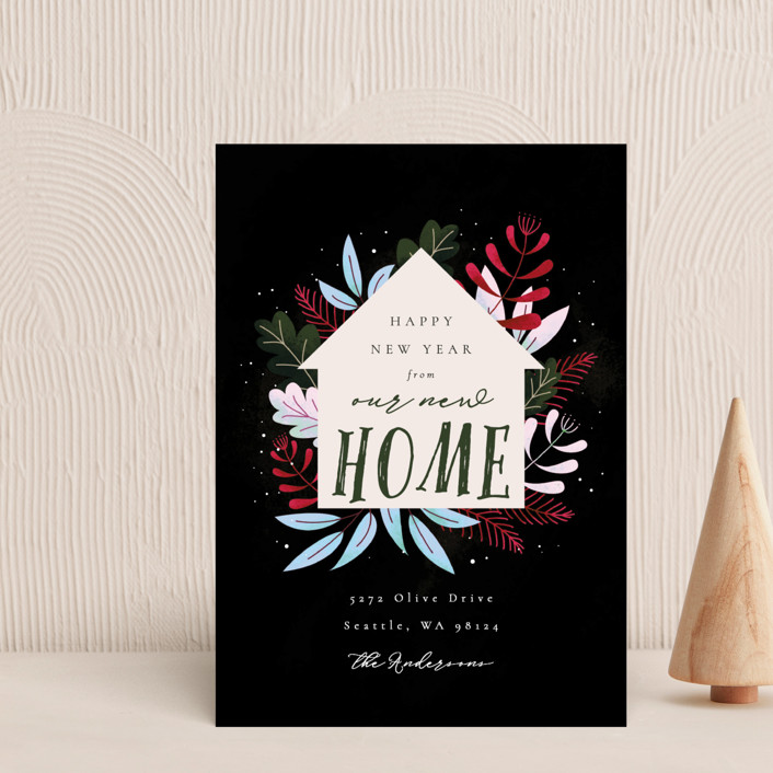 """Whimsical New Home"" - Holiday Postcards in Forest by Kann Orasie."