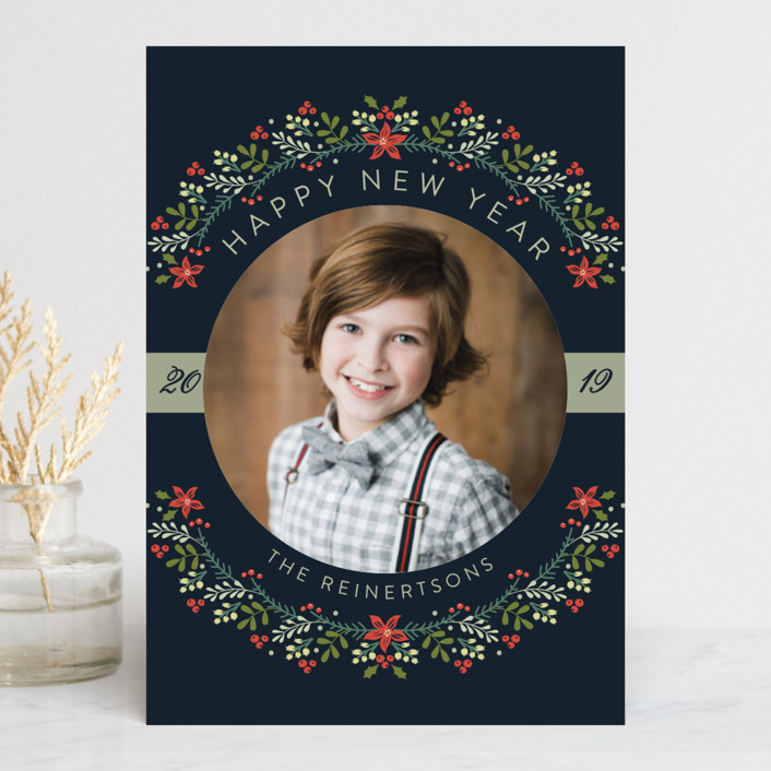 """The Most Wonderful Time Of The Year!"" - Holiday Postcards in Navy by Susan Moyal."