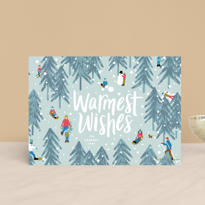 """""""Winter Fun"""" - Holiday Postcards in Wintermint by Meggy Masters."""