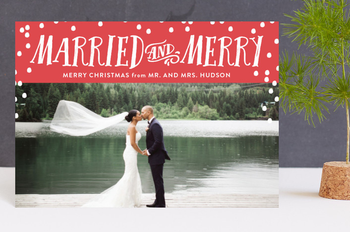 """Married and Merry"" - Funny Holiday Postcards in Cherry by Nicole Barreto."