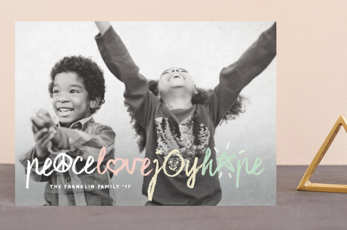 """""""Peace Love Joy Hope Symbols"""" - Modern Holiday Postcards in Cotton Candy by fatfatin."""