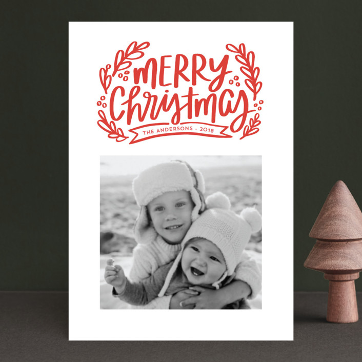 """Merry Little Branches"" - Holiday Postcards in Crimson by Little Print Design."