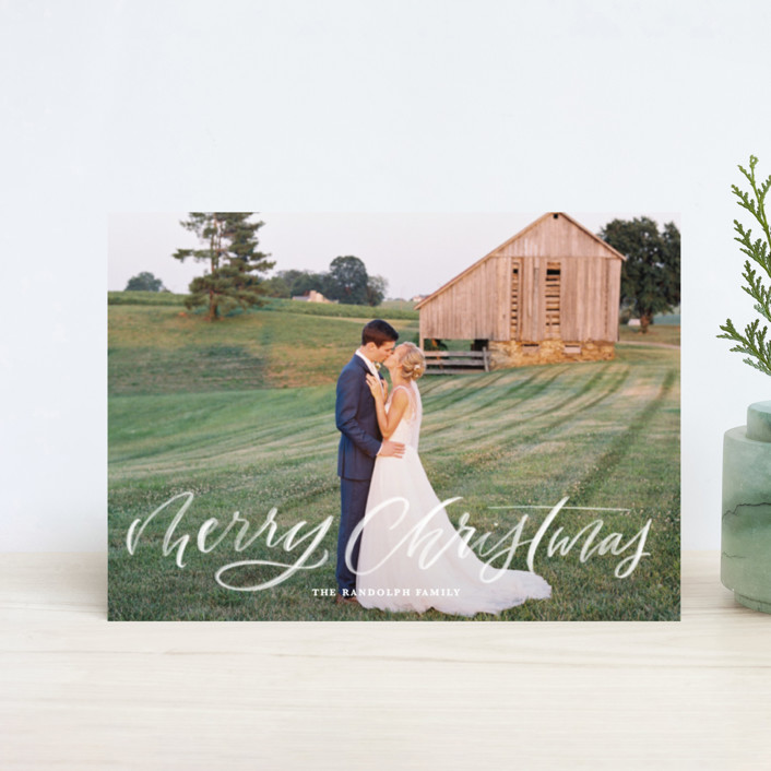 """""""Brushy Script"""" - Holiday Postcards in Snow by Kristen Smith."""