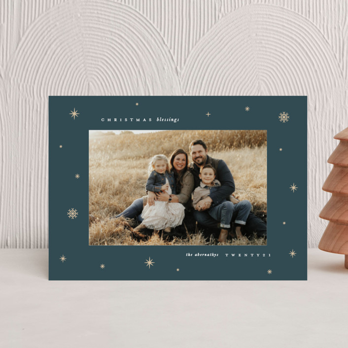 """""""Midnight Clear"""" - Vintage Holiday Postcards in Midnight by Lauren Chism."""
