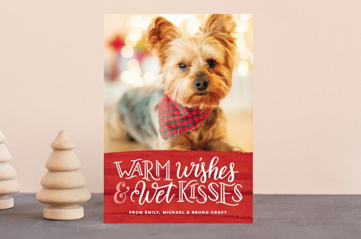 """Warm Wishes Wet Kisses"" - Funny Holiday Postcards in Cranberry by Pink House Press."