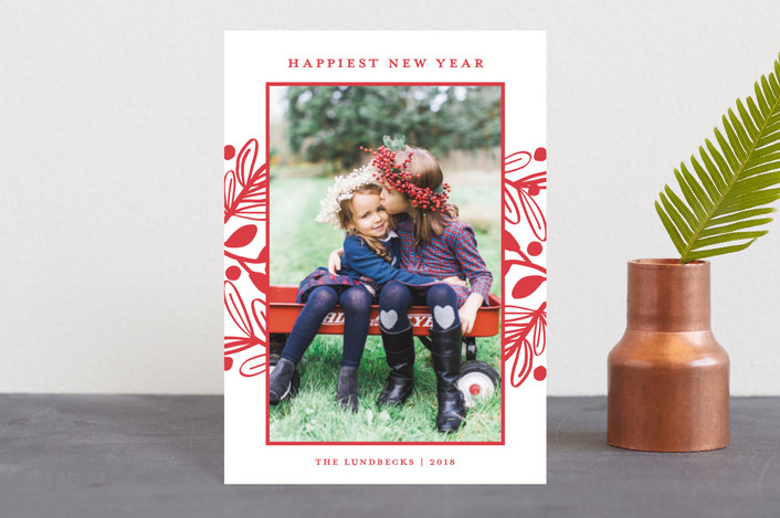 """Fun Botanical Frame"" - Holiday Postcards in Cherry by Paper Dahlia."