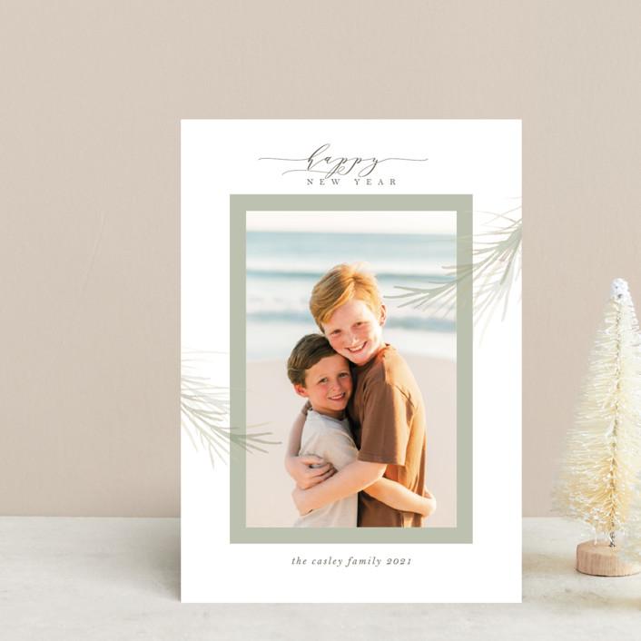 """holiday wisp"" - Holiday Postcards in Sage by Melinda Denison."