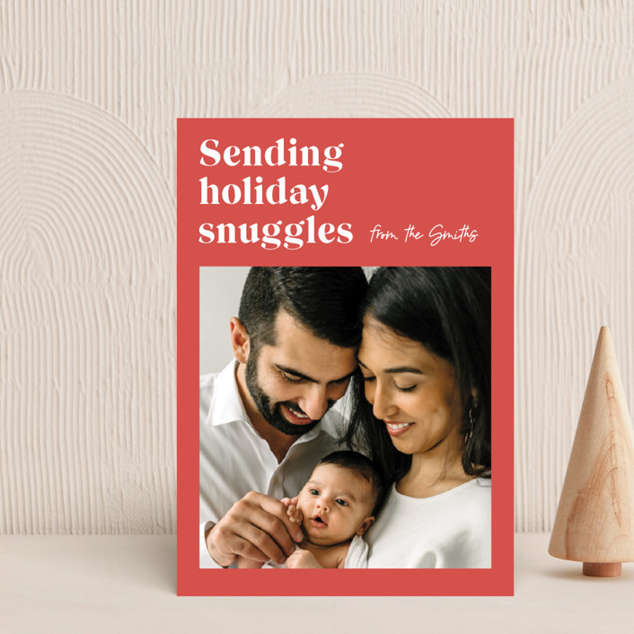 """""""Holiday Snuggles"""" - Modern Holiday Postcards in Melon by Catherine Culvenor."""