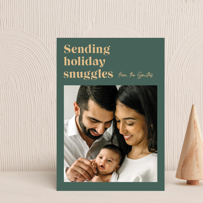 """""""Holiday Snuggles"""" - Funny Holiday Postcards in Sage by Catherine Culvenor."""