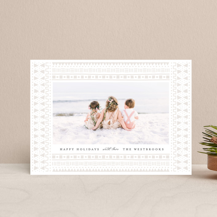 """""""mud cloth holiday"""" - Bohemian Holiday Postcards in Taupe by Erin Deegan."""