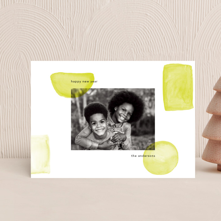 """""""Neon New Year"""" - Holiday Postcards in Lime by Caitlin Considine."""