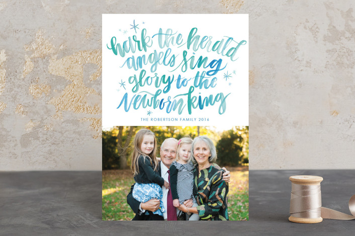 """""""Hark the Herald Angels"""" - Hand Drawn Holiday Postcards in Frozen by Itsy Belle Studio."""