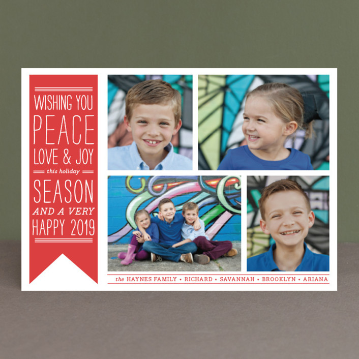"""Wish Banner"" - Vintage Holiday Postcards in Candy Cane Red by The Social Type."