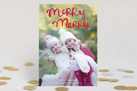 Handlettered Merry Merry Holiday Postcards